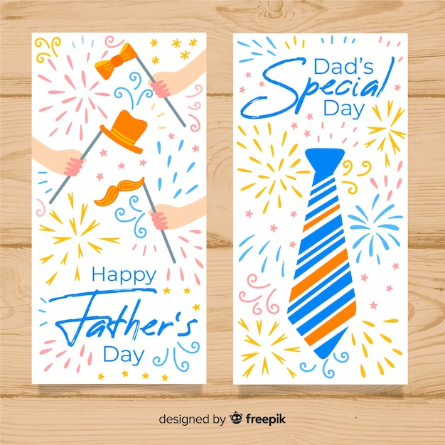 Banners de dia de pais de mão desenhada Vetor grátis