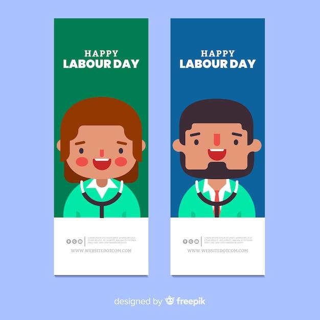 Banners de dia de trabalho plana Vetor grátis