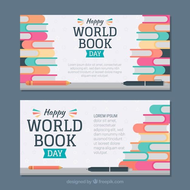 Banners de dia do livro mundial Vetor grátis