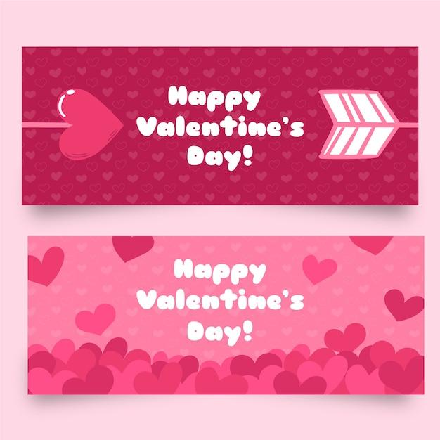 Banners de dia dos namorados plana com flechas e corações Vetor grátis