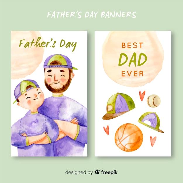 Banners de dia dos pais em aquarela Vetor grátis