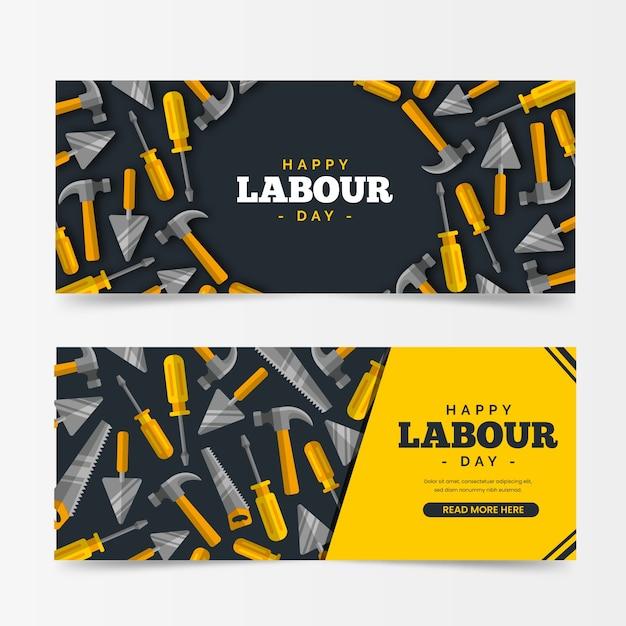 Banners de dia internacional de trabalhadores de design plano Vetor grátis