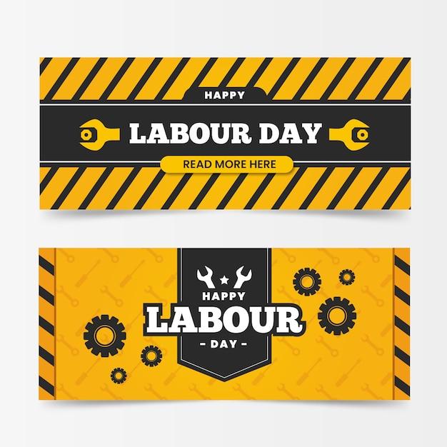 Banners de dia internacional do trabalho de design plano Vetor grátis