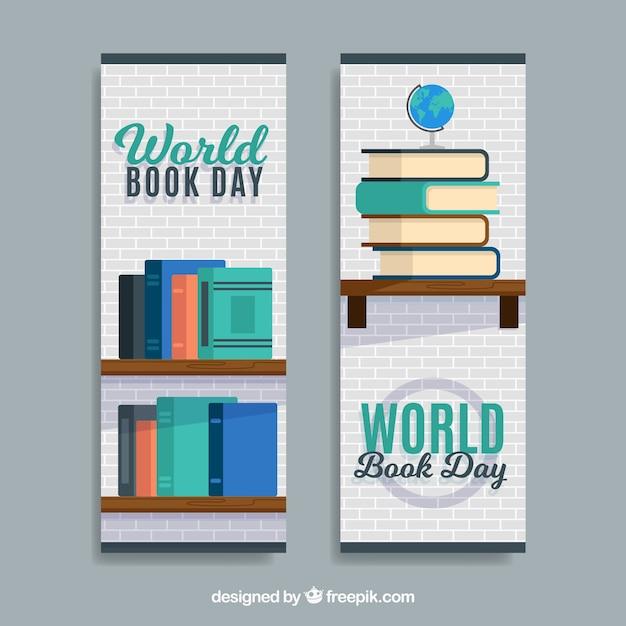 Banners de dia livro livro mundo Vetor grátis