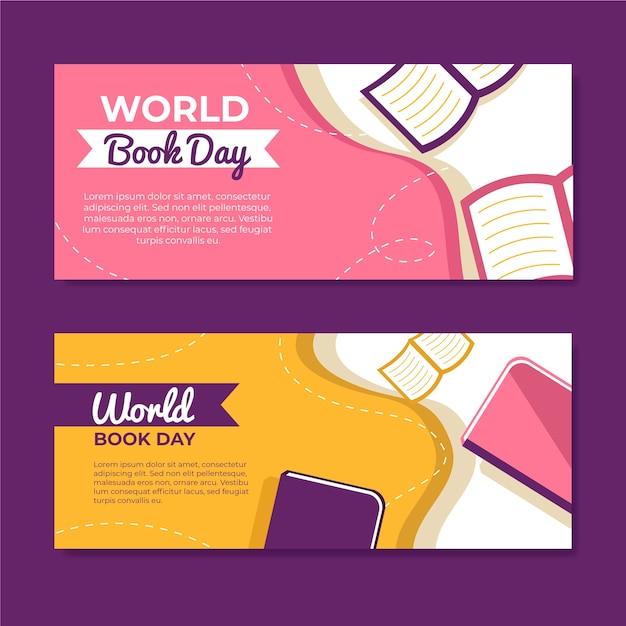 Banners de dia mundial do livro design plano Vetor grátis