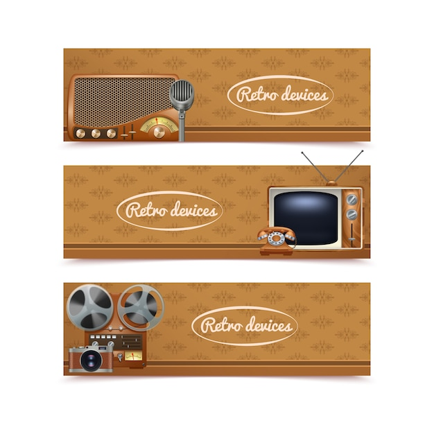 Banners de dispositivos retrô conjunto com tv vintage rádio e câmera fotográfica Vetor grátis
