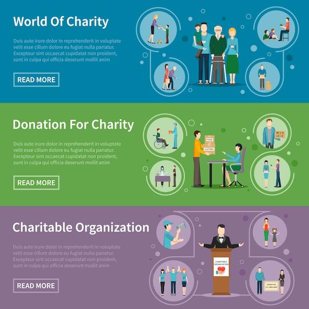 Banners de doação de caridade Vetor grátis