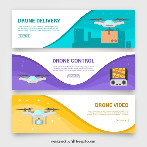Banners de drone ondulados Vetor grátis