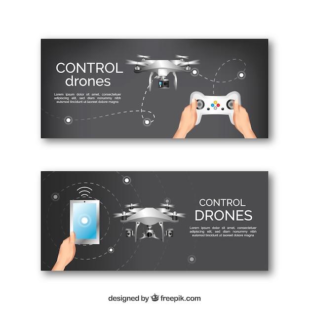 Banners de drone planos Vetor grátis