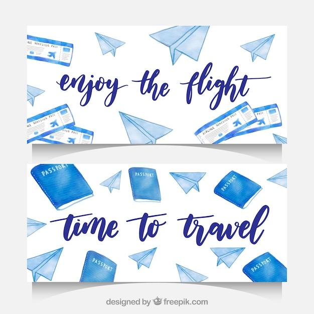 Banners de elemento de viagem de aquarela Vetor grátis