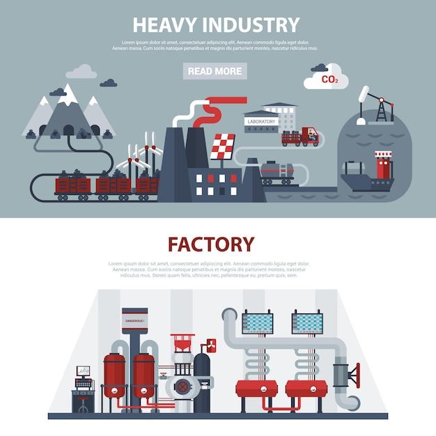 Banners de energia e indústria Vetor grátis