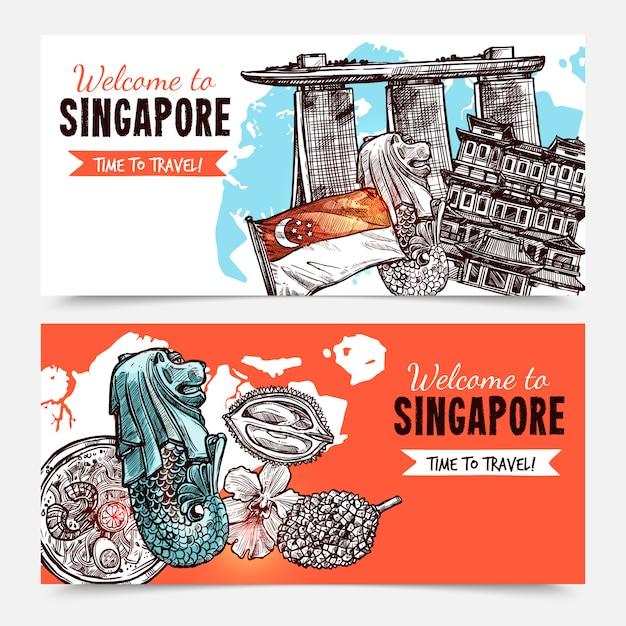 Banners de esboço desenhado de mão de singapura Vetor grátis