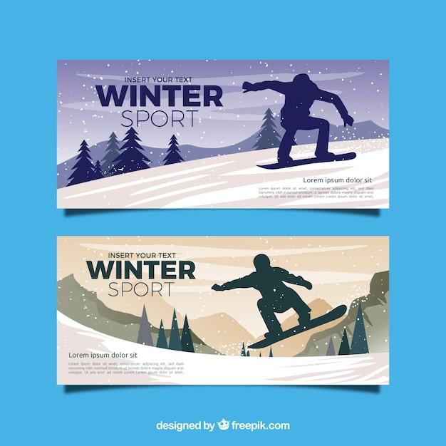 Banners de esporte de inverno Vetor grátis