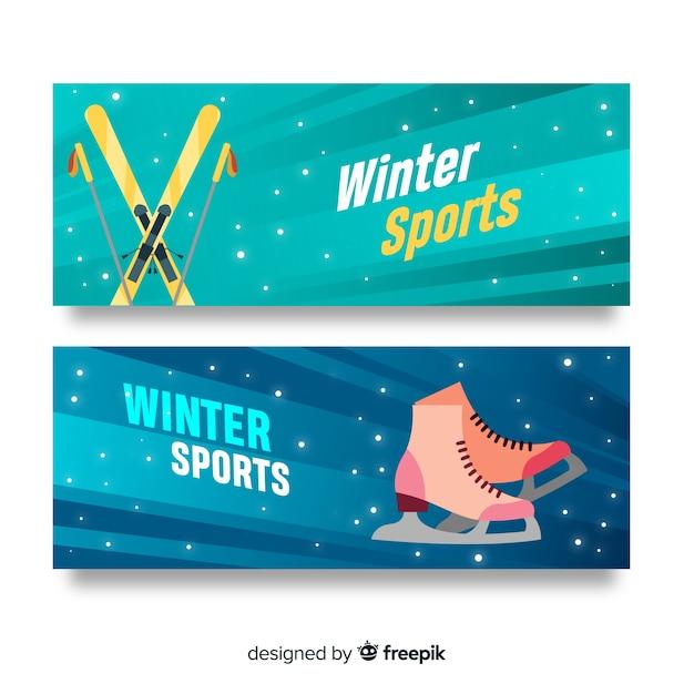 Banners de esportes de inverno Vetor grátis
