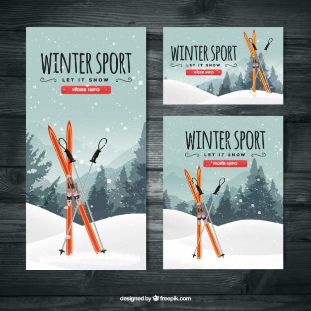 Banners de esqui conjunto de diferentes tamanhos Vetor grátis