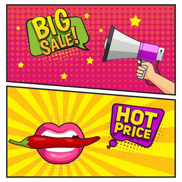 Banners de estilo cômico de grande venda Vetor grátis