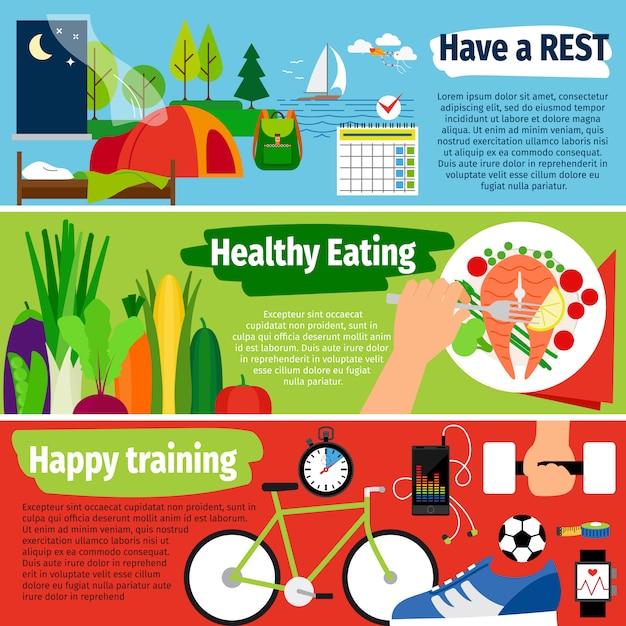 Banners de estilo de vida saudável Vetor Premium