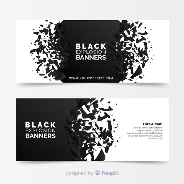Banners de explosão preta Vetor grátis