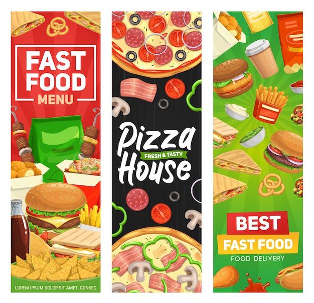 Banners de fast food, menu de hambúrguer fastfood, refeições de hambúrgueres de restaurantes vetoriais, sanduíches e bebidas Vetor Premium