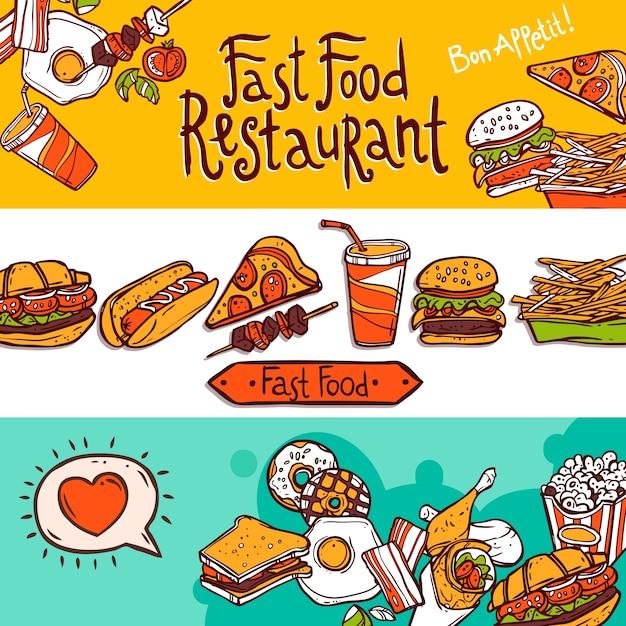 Banners de fast food Vetor grátis