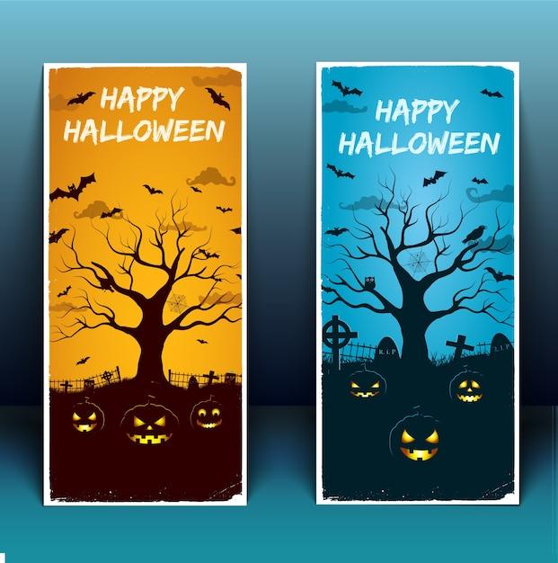 Banners de feliz dia das bruxas com árvore de pássaros do cemitério moldura branca lanternas brilhantes de abóbora ilustração em vetor 3d isolado Vetor grátis