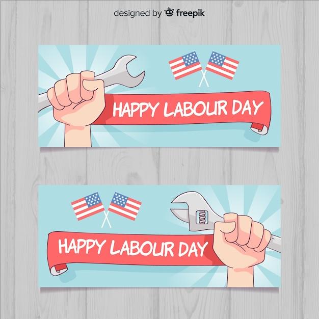 Banners de feliz dia do trabalho Vetor grátis