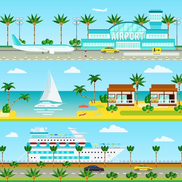 Banners de férias de cruzeiro de verão Vetor grátis