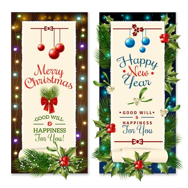 Banners de férias de natal Vetor grátis
