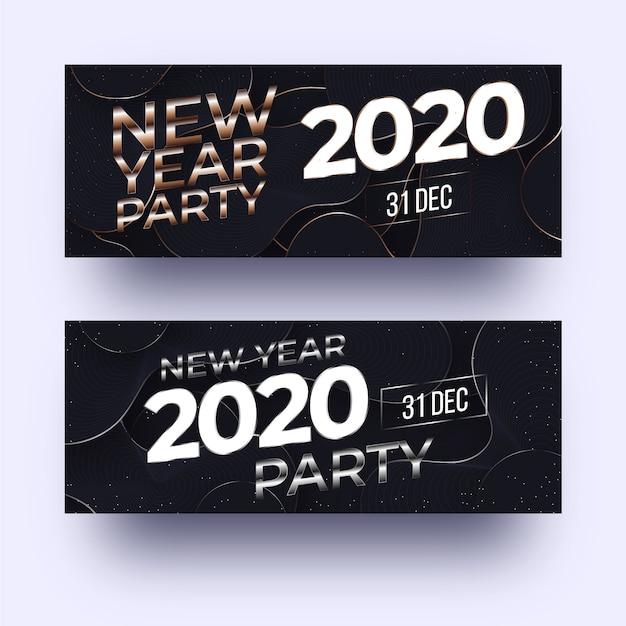 Banners de festa abstrata ano novo 2020 Vetor grátis