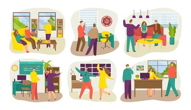 Banners de festa corporativa com comemorando a comunicação do conjunto isolado de pessoas. empresários dançando, celebram evento corporativo no escritório. feliz celebração da equipe. Vetor Premium