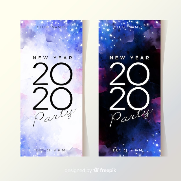 Banners de festa em aquarela de ano novo 2020 Vetor grátis