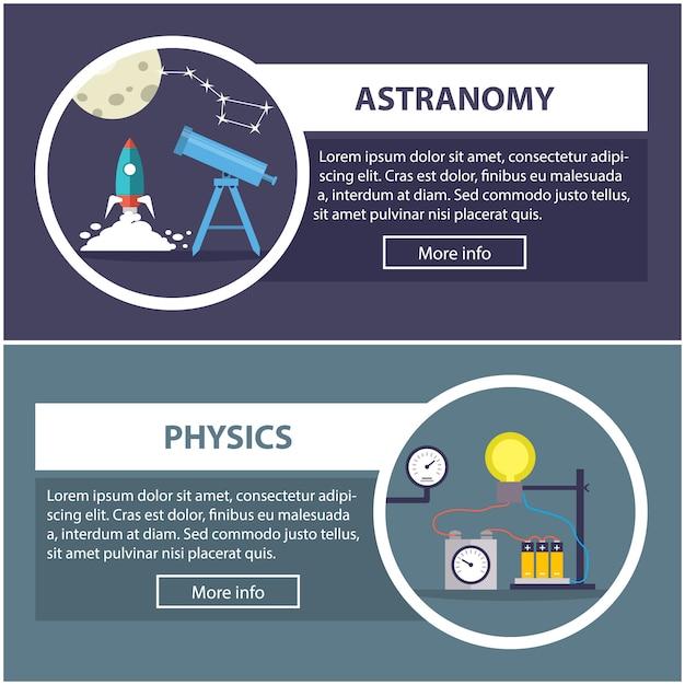 Banners de física e astronomia com o conceito de equipamento científico Vetor Premium