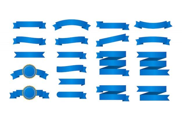 Banners de fitas azuis. conjunto de fitas. ilustração. Vetor Premium