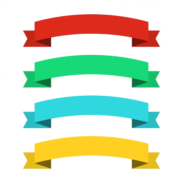 Banners de fitas planas. fitas em design plano. vector conjunto de fitas coloridas Vetor Premium