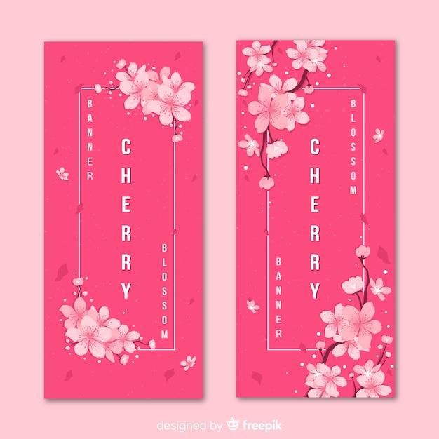 Banners de flor de cerejeira Vetor grátis