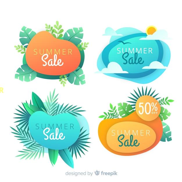 Banners de forma líquida de venda de verão Vetor grátis