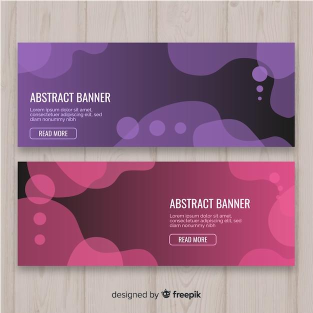 Banners de formas orgânicas abstratas Vetor grátis