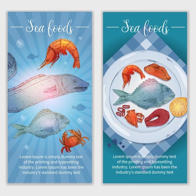 Banners de frutos do mar desenhados à mão Vetor grátis