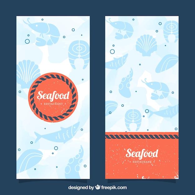 Banners de frutos do mar do vintage Vetor grátis
