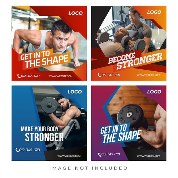 Banners de ginástica fitness Vetor Premium
