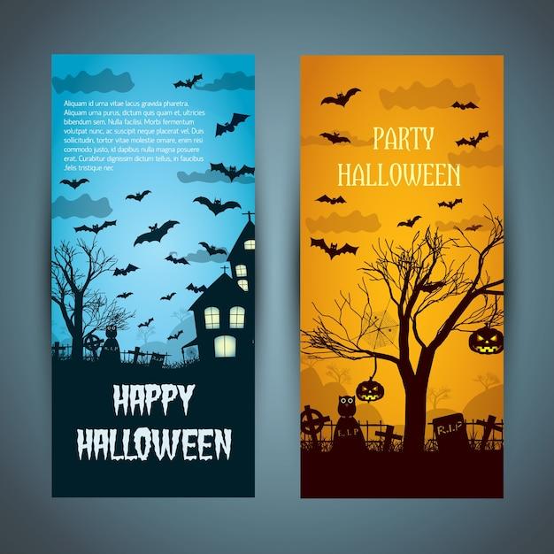 Banners de halloween com uma casa mal-assombrada no cemitério noturno Vetor grátis