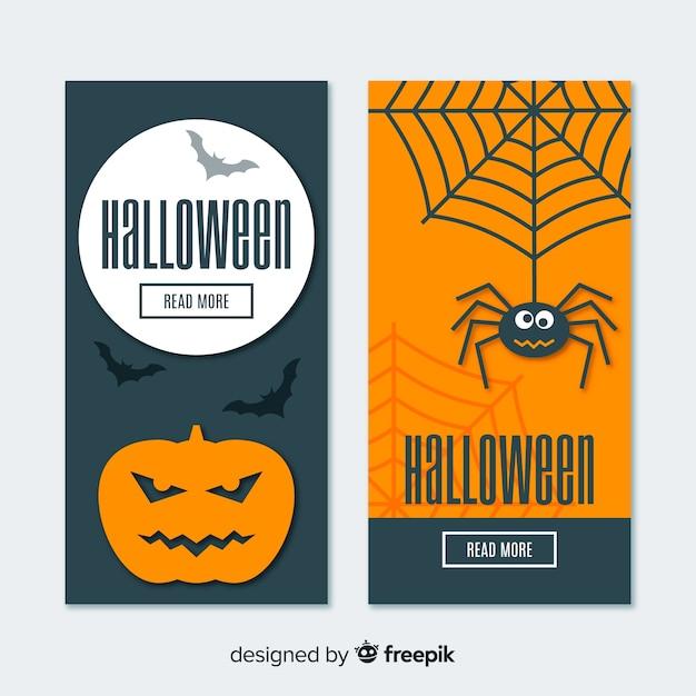 Banners de halloween divertida com design liso Vetor grátis