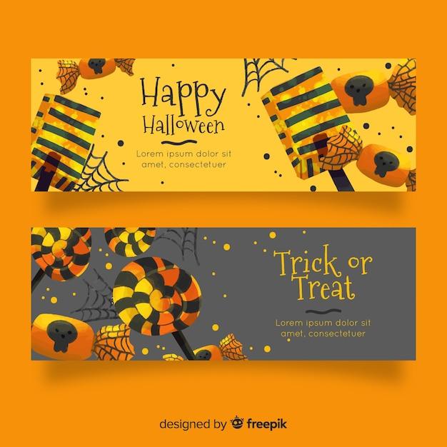 Banners de halloween em aquarela em tons dourados Vetor grátis