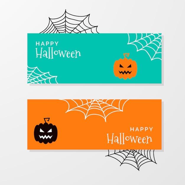 Banners de halloween fofos Vetor grátis