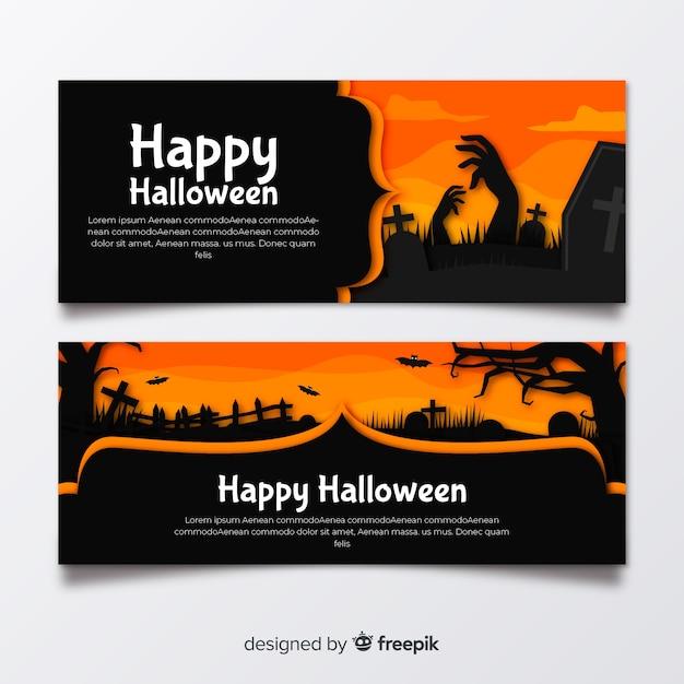 Banners de halloween plana com tons de laranja Vetor grátis