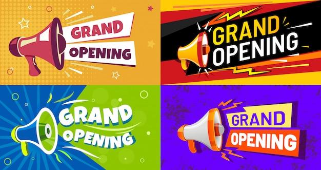 Banners de inauguração. cartão do convite com alto-falante megafone, evento aberto e conjunto de panfleto de publicidade de celebração de abertura Vetor Premium