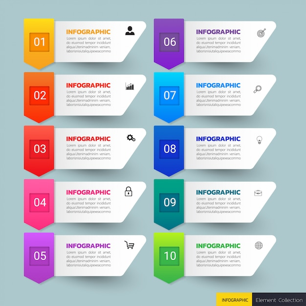 Banners de infográfico de 10 passos Vetor Premium