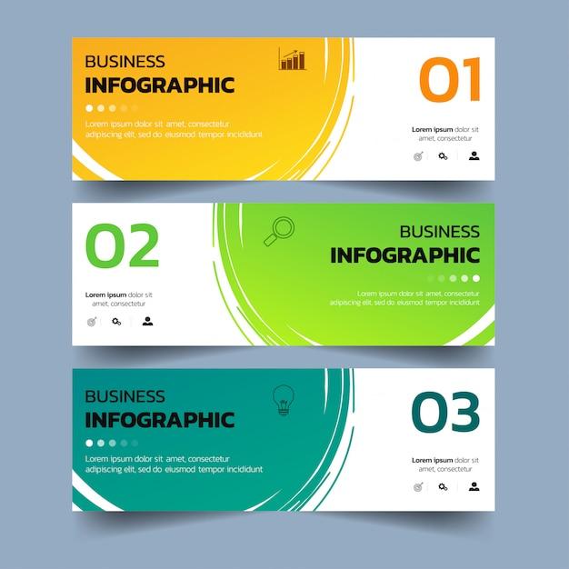 Banners de infográficos com respingos de aquarelas. Vetor Premium