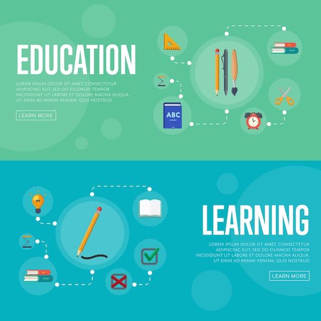 Banners de infográficos de educação Vetor Premium