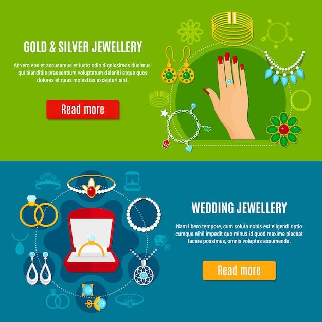 Banners de jóias de ouro e prata Vetor grátis